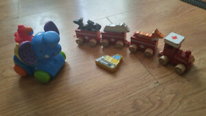 Fisher Price Elephant & BirdCar And Canada Wood Train