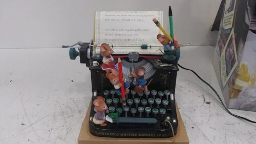"RARE Enesco Mice Typewriter Multi-Action ""Whistle While Work"" Music Box VIDEO"