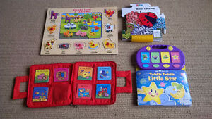 Assortment of kids games and books