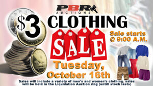 $3 Clothing Sale - ONE DAY ONLY!  @ PBR Auctions - Oct. 16th