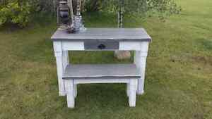 Rustic farm style entryway table and bench