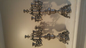 Solid Ornate Silver Candelabras x2 Pair