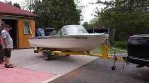Very good boat motor and trailer