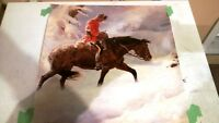 A. Friberg sample print of Mountie on Horseback in snow. NEW!