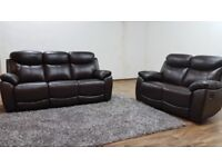 Brand New Recliner Sofa Set - 3 STR + 2 STR - Leather Mix with 4 Recliners - Quick Delivery