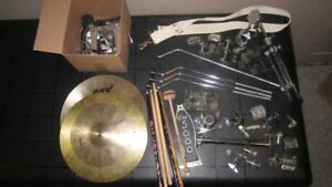 Drum Set Parts - Cymbals,Stand,Drum Sticks,Pile of Parts