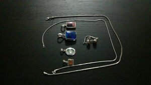GREAT PRICE...Sterling Silver Chain and 3 Gem Pendants
