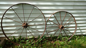 Two antique wheels