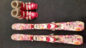 Girls Roxy Ski Package - Boots (Size 19.5) and Skis 100cm