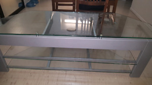Three shelf glass tv stand