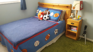 Double bed frame, headboard, and night table