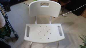 Bathroom/ Shower  Safety Chair with Back, White, almost new