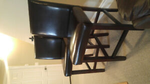Brown faux leather bar chairs (pair)