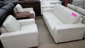 White Leather Couch with 2 chairs - Delivery Available