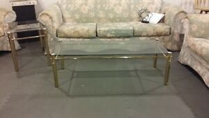 Brass/Glass Coffee and End Table