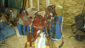 Custom western saddle, bridle, blanket and saddle holder Strathcona County Edmonton Area image 1