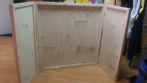 Tool Storage Rack:  Pegboard, Sturdy, Lockable Doors