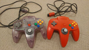 N64 Controllers - Red & Atomic Purple