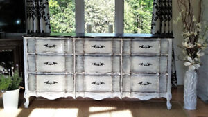 ANTIQUE  FRENCH PROVINCIAL WOOD DRESSER, SHABBY CHIC