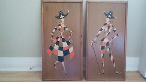Mid century framed Harlequin pair West Island Greater Montréal image 1