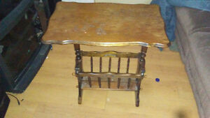 Antique Vintage Coffee Table with basket for newspapers books