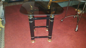 "Black n Gold Tinted Glass Table (19"" x 19"") 19"" Tall"