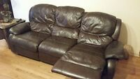 Sofa en vrai cuir 3 places, inclinable