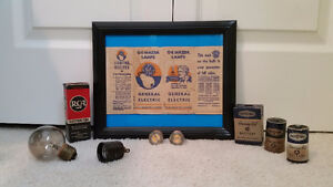 1920's Light bulb, WW 11 era Hearing Aid Batteries and more.