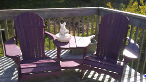 Needs Repair -Adirondack double chair with table