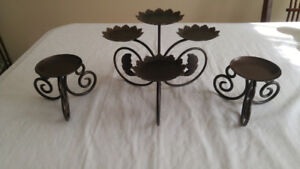 Candle centerpiece and pair of pillar bases - priced to sell