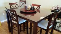 Dining table & 8 chairs - pub height