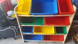 Kids box shelves with colourful bins -safe corners for toys