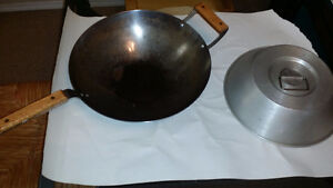 Chinese woks, frying pan, ginger grater