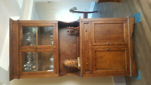 Antique Real WOOD Armoire/Pantry Quality design W/GLASS doors