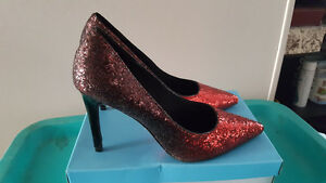 Comfort Plus Red Ruby Sparkly Heels