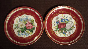 """Hand Painted French Imperial Cross Swords Floral 10"""" Cake Plates"""