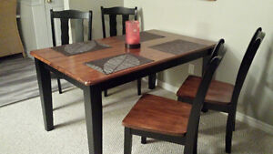 High Quality Wood Table with 4 High Quality Wood Chairs!