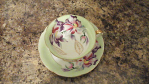 Hand Painted Shafford Bone China Cup and Saucer with Orchids