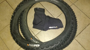 Studded Fat Bike Tires & Bar Mitts