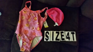 Girls  bathsuits Size 4 New with tag and Lycra swim cap(used few