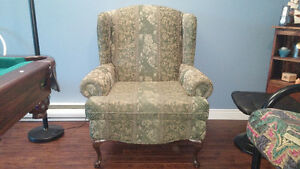 One sofa chair, green floural pattern. In excellent condition.