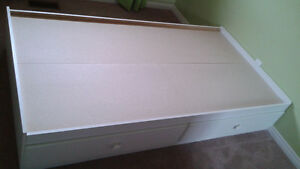 WHITE MATES BED - 2 LARGE DRAWERS $95 O.B.O