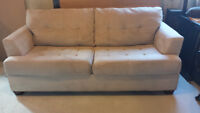 Cream Microfiber Couch, in great condition