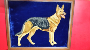 GERMAN SHEPHERD ON BLUE VELVET