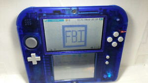Crystal Blue Nintendo 2DS (A9LH, Modded) + charger