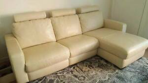 Elegant 3 Seater electric leather lounge with chaise Scarborough Redcliffe Area Preview
