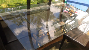 Large Glass dining room table with beautiful tile shelf