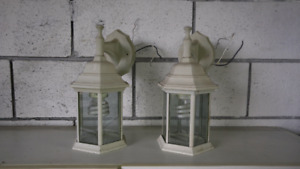 2 OUTDOOR LIGHTS-off white