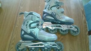 patin roue alignee ,casque et protège.