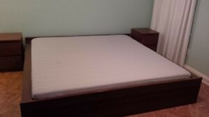 king size bed, bed side tables, mattress, linens